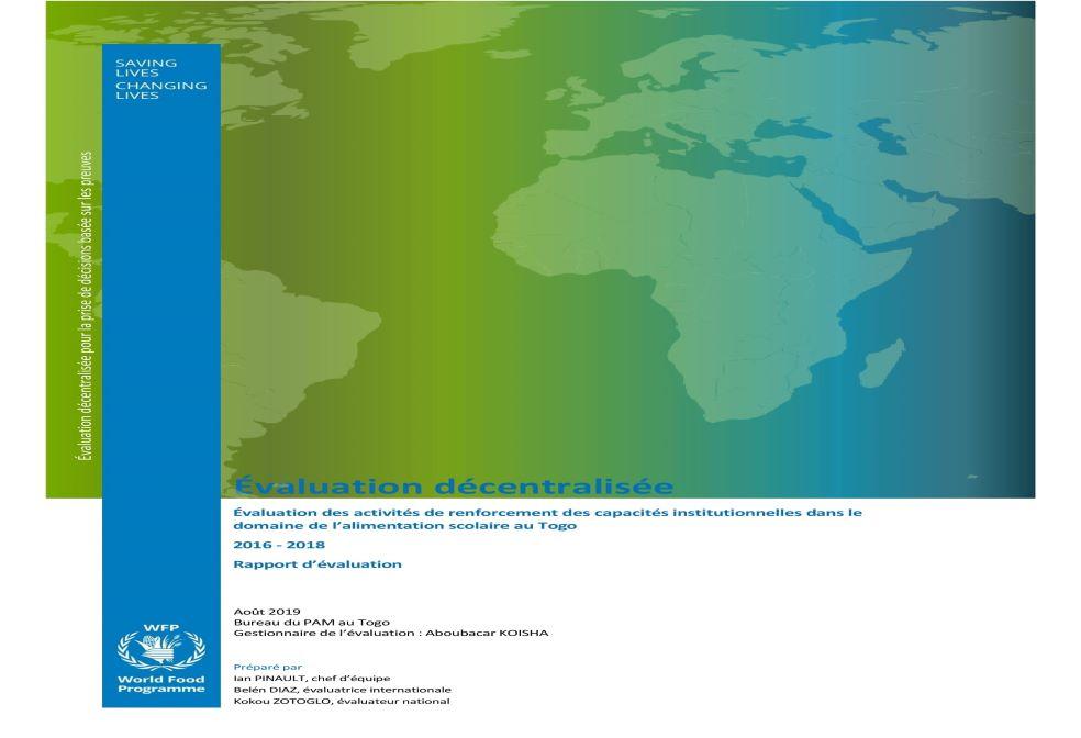 Rapport d'évaluation des activités de renforcement des capacités institutionnelles dans le domaine de l'alimentation scolaire au Togo