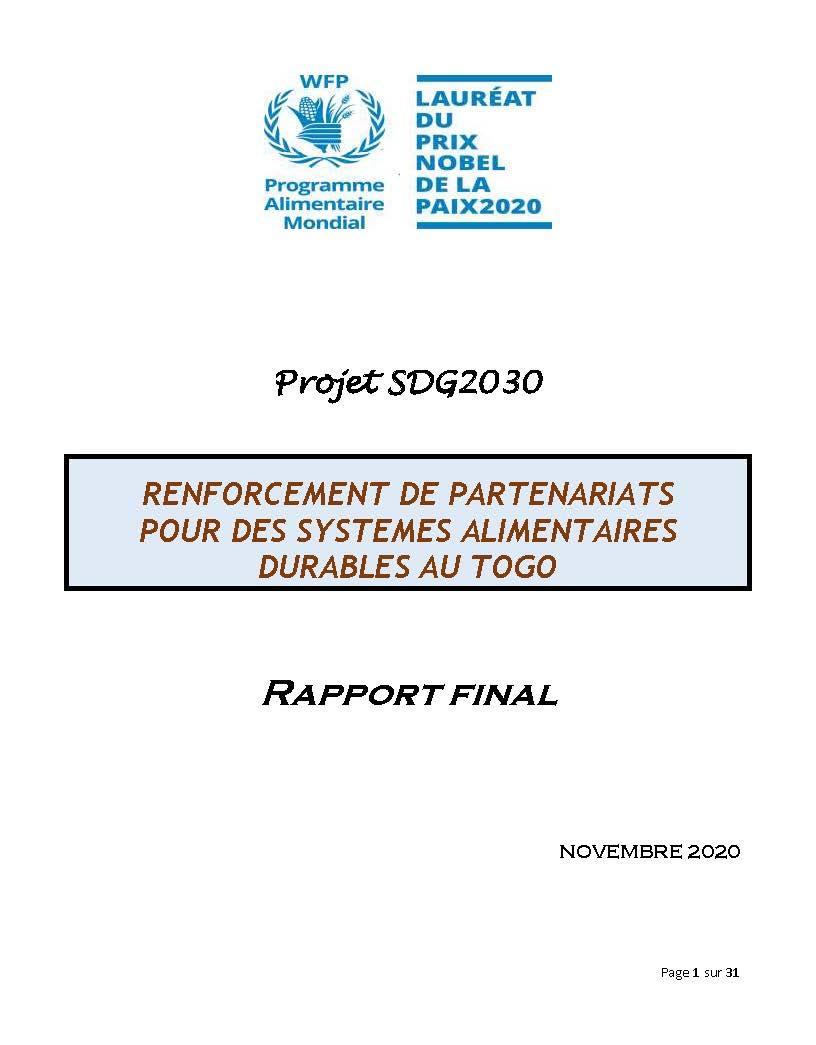 Renforcement de partenariats pour des systèmes alimentaires durables au Togo (Novembre 2020)